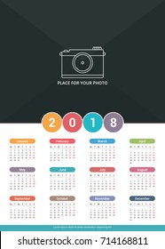 2018 Calendar template, a3 size, place for your photo, vector eps10 illustration