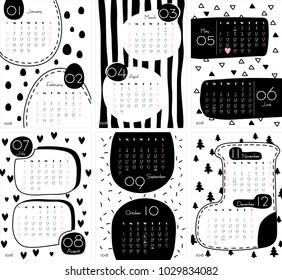 2018 calendar vector illustration