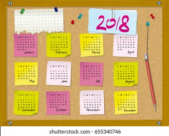 2018 calendar - week starts on Sunday - cork board with notes and pushpins