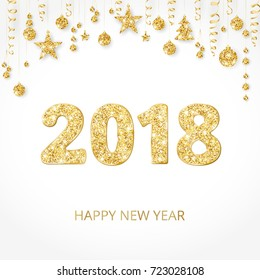 2018 card with glitter typography design. Golden sparkling numbers. Golden glitter border, garland with hanging balls and ribbons. Great for calendars, New year and Christmas cards, party posters.