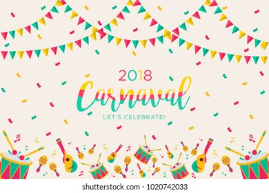 2018 Carnival greeting card with typography design.Carnival title with colorful party elements.Vector templates for carnival concept and other users.Colorful background illustration