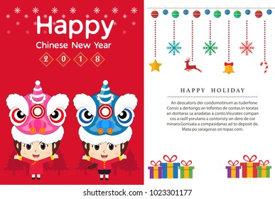 2018 chinese new year cards and lion kids vector templates design