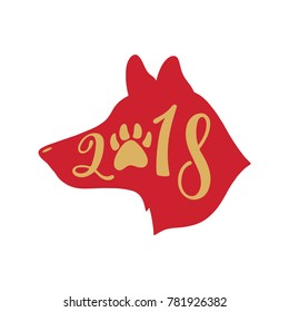 2018 Chinese New Year of the Dog.  Hand drawn typography design. Calligraphy holiday inscription in shape of dog's head. Vector illustration isolated on white background.