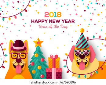 2018 Chinese New Year Greeting Card with dogs in carnival masks. Vector illustration. Christmas tree and gift box, confetti and garland lights
