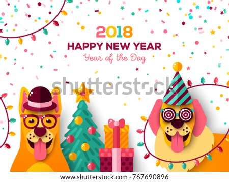2018 chinese new year greeting card stock vector royalty free 2018 chinese new year greeting card with dogs in carnival masks vector illustration christmas m4hsunfo