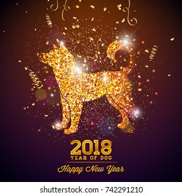 2018 Chinese New Year Illustration with Bright Symbol on Shiny Celebration Background. Year of Dog Vector Design.