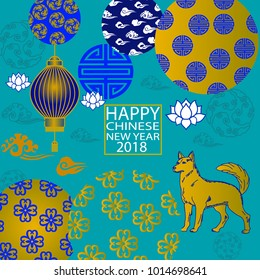 2018 Chinese New Year Paper Cutting Year of Dog Vector Design Blue background