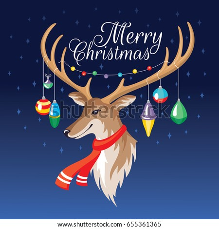 2018 Christmas Greeting Card Deer Vector Stock Vector Royalty Free