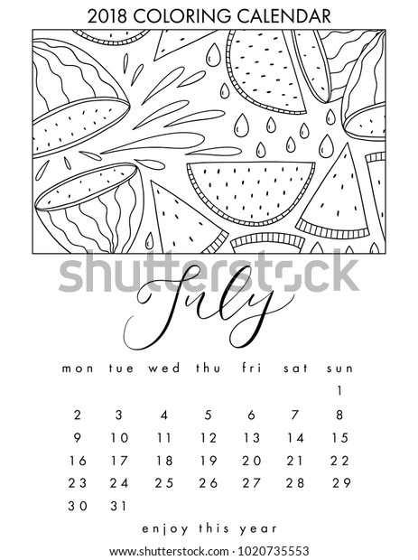 2018 Coloring Calendar Adult Coloring Book Stock Vector (Royalty Free)  1020735553
