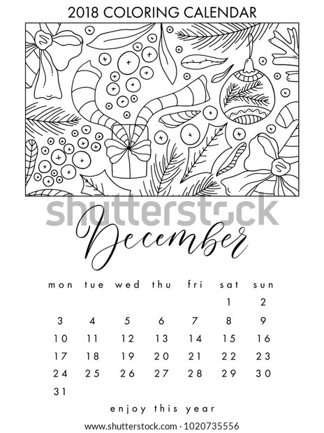 2018 Coloring Calendar Adult Coloring Book Stock Vector (Royalty Free)  1020735556