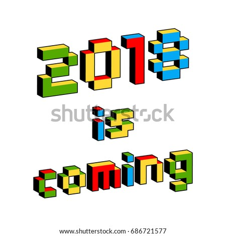 2018 coming text style old 8 bit stock vector royalty free