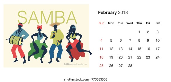 2018 Dance Calendar. February. Samba. Group of four dancing brazilian rythms