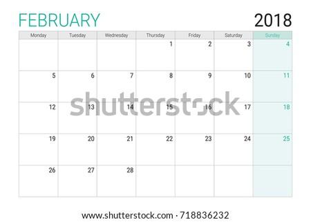 2018 Feburary Calendar Desk Planner Weeks Stock Vector Royalty Free
