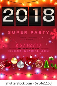 2018 flip clock christmas party poster retro nostalgic new year vector analog countdown timer