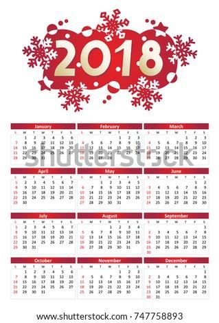 2018 full year calendar a 4 letter stock vector royalty free