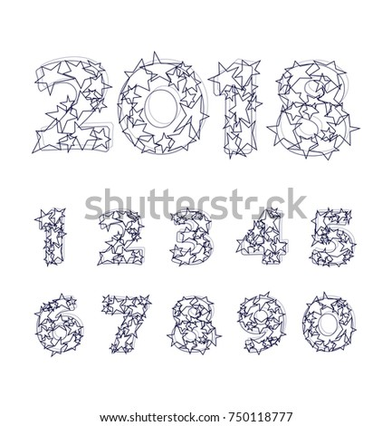 2018 Funny Ink Sketch Vector Numbers Stock Vector (Royalty