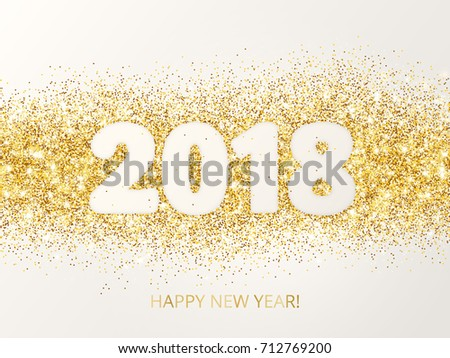 2018 glitter typography design happy new year greeting card golden sparkling vector dust rectangle