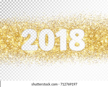 2018 glitter typography isolated on transparent background. Golden sparkling vector dust rectangle with numbers. Great for calendars, New year and Christmas cards, party posters, website headers.
