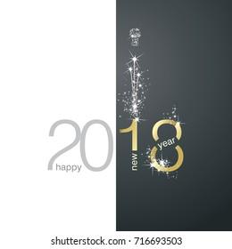 2018 Gold New Year firework white black background
