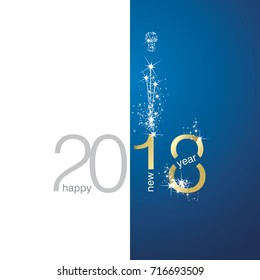 2018 Gold New Year firework white blue background