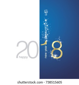 2018 Gold New Year firework white blue illustration