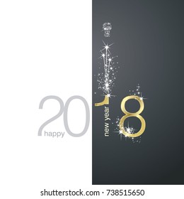 2018 Gold New Year firework white black illustration