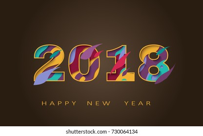 2018 happy new year, abstract design 3d, vector illustration