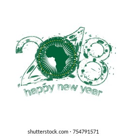 2018 Happy New Year African Union grunge vector template for greeting card, calendars 2018, seasonal flyers, christmas invitations and other.
