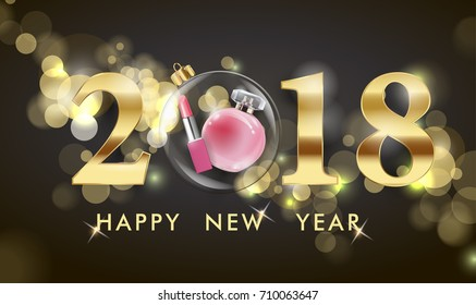 2018 Happy New Year background. Beauty and cosmetics background. Use for advertising flyer, banner, leaflet. Christmas And New Year background. Template Vector.