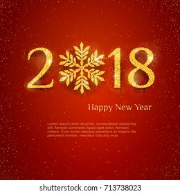 2018 Happy New Year Background with golden glitter numbers on red background. Vector holiday design for your flyer banner and greeting cards