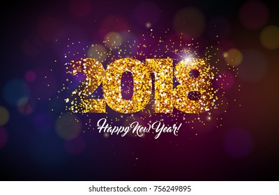 2018 Happy New Year Background Illustration with Gold Glitter Typograph Number. Vector Holiday Design for Premium Greeting Card, Party Invitation or Promo Banner.