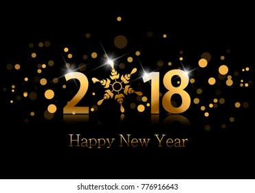 2018. Happy new year background with golden numbers, snowflake and bright spots.