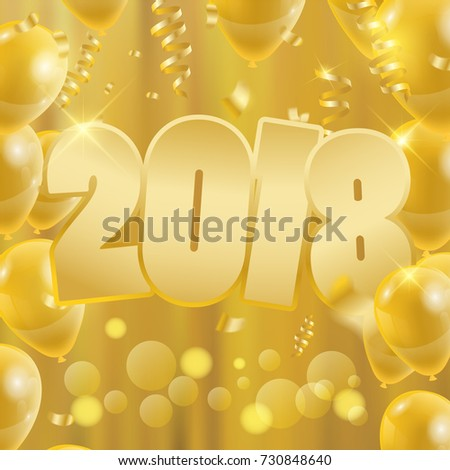 2018 happy new year background party banner with golden balloons design of greeting card vector illustration