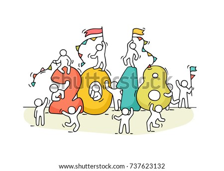 2018 happy new year background cartoon doodle illustration with little people prepare to celebration