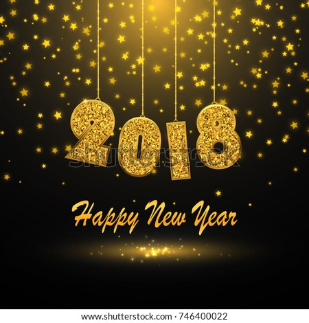 2018 happy new year background gold glitter numbers vector illustration
