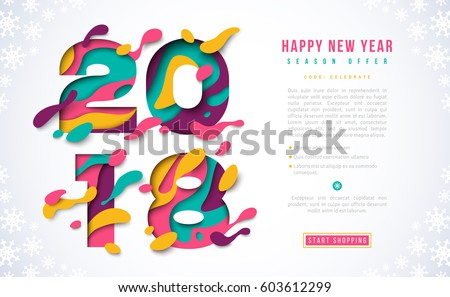 2018 happy new year banner template with abstract paper cut shapes vector illustration colorful