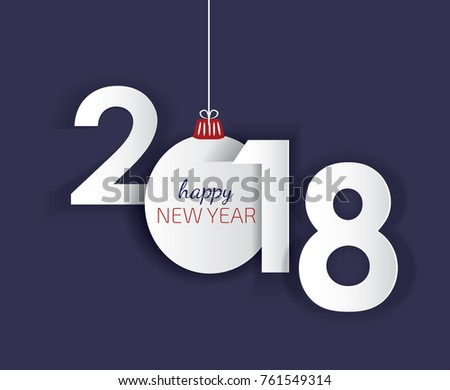 2018 happy new year banner template with abstract paper cut shapes and christmas ball vector