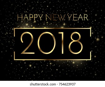 2018 happy new year a beautiful gold illustration on a black background with bokeh and ligthing flare effect and golden frame, vector vip invitation, eps10