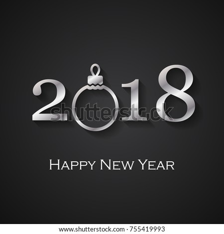 2018 happy new year black greeting stock vector royalty free 2018 happy new year black greeting card with silver christmas ball m4hsunfo