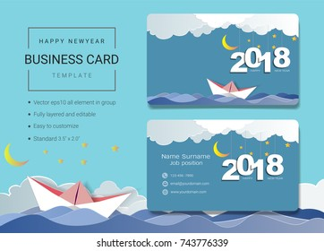 2018 happy new year business name card design template simple style also modern and elegant