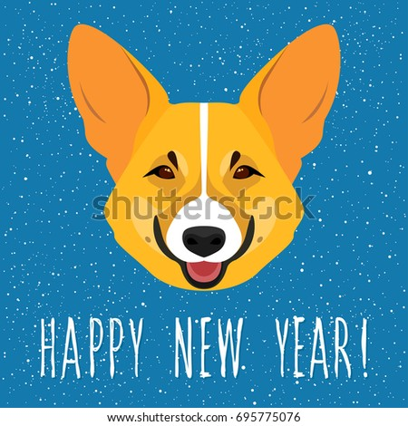 2018 happy new year card welsh corgi dog and handmade lettering for new year card