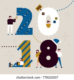 2018 happy new year celebration concept christmas decoration text poster vector illustration flat design