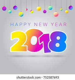2018 Happy new year with colorful illustration design.