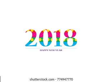 2018 Happy New Year. Colorful Numbers Design for greeting card. Happy New Year Banner with 2018 Numbers isolate on White Background. Vector illustration EPS 10.