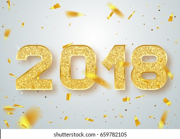 2018 Happy new year confetti falls. Gold Numbers Design of greeting card. Gold Shining Pattern.