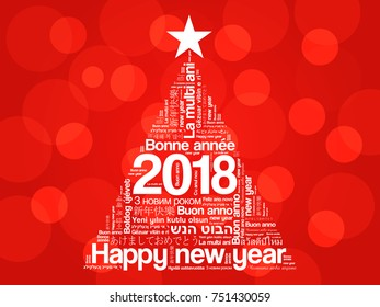 2018 Happy New Year in different languages, celebration word cloud greeting card in the shape of a christmas tree