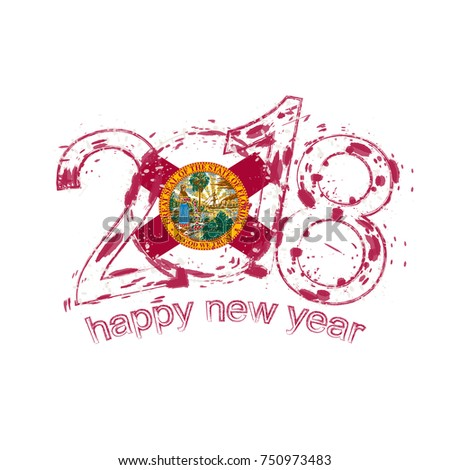 2018 happy new year florida us state grunge vector template for greeting card calendars 2018