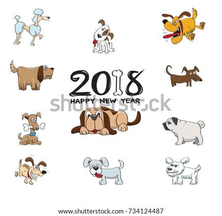 2018 Happy New Year Funny Cartoon Stock Vector (Royalty Free ...