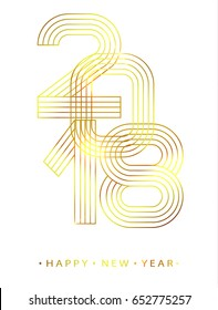 2018 Happy new year. Gold linear numbers. Design of greeting card. Vector illustration.