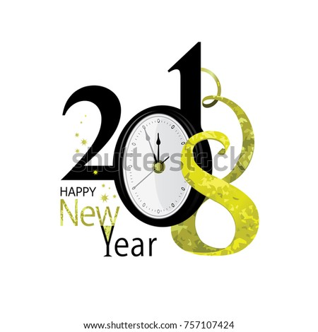 2018 Happy New Year Gold Black Stock Vector (Royalty Free) 757107424 ...